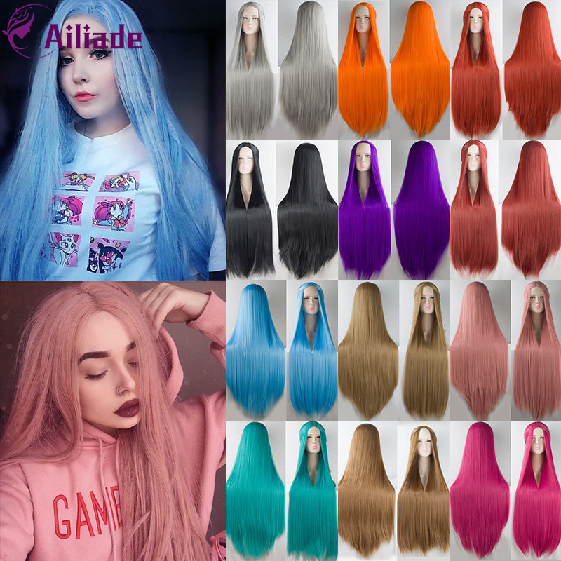 AILIADE Colorful Long Wig 100CM 40 Inches Synthetic Heat Resistant Fiber Halloween Carnival Costume Cosplay Straight Women Hair