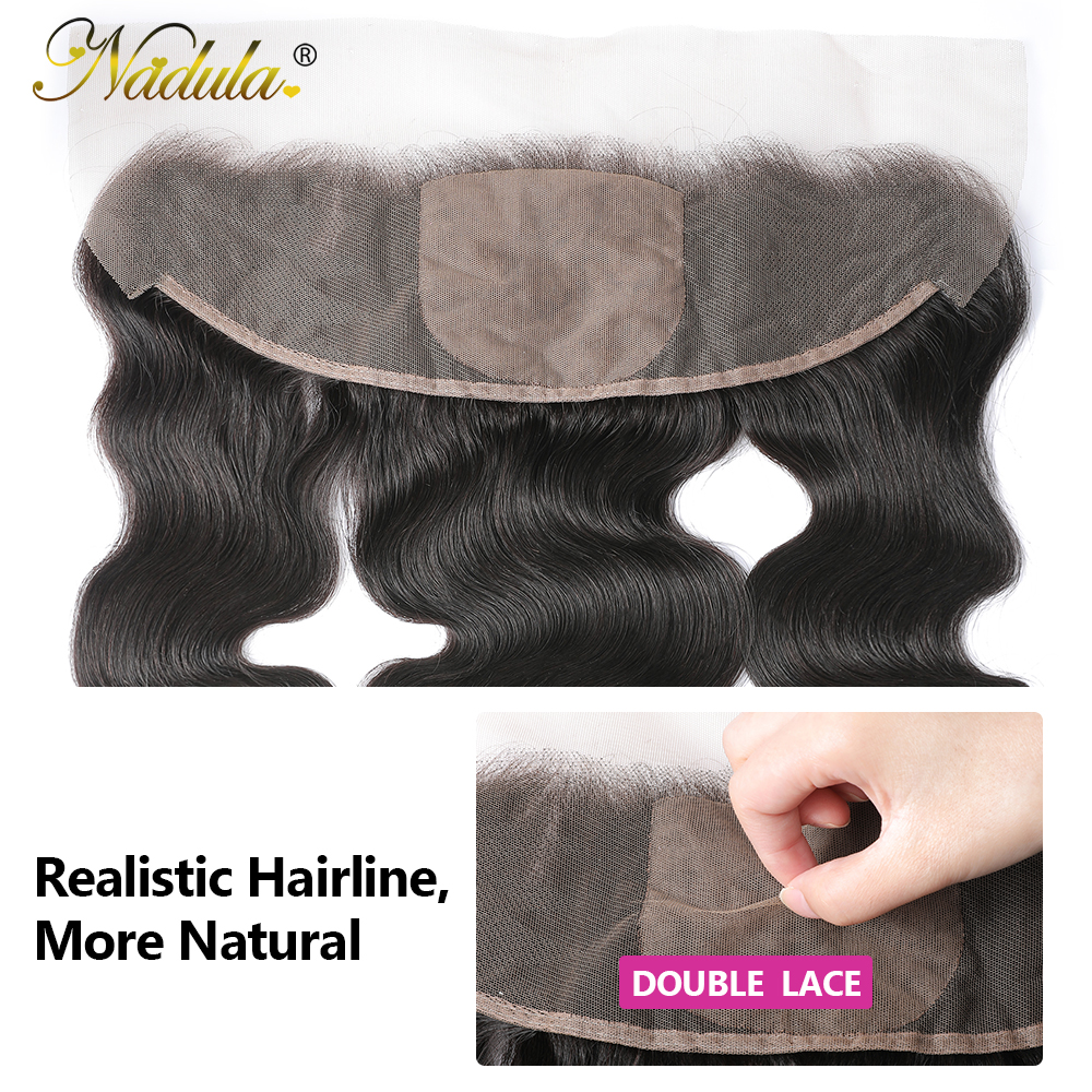 Nadula Hair Body Wave Lace Frontal 13x4 Medium Brown Lace Color Closures Body Wave Hair 4x4 Silk Base Frontal 4