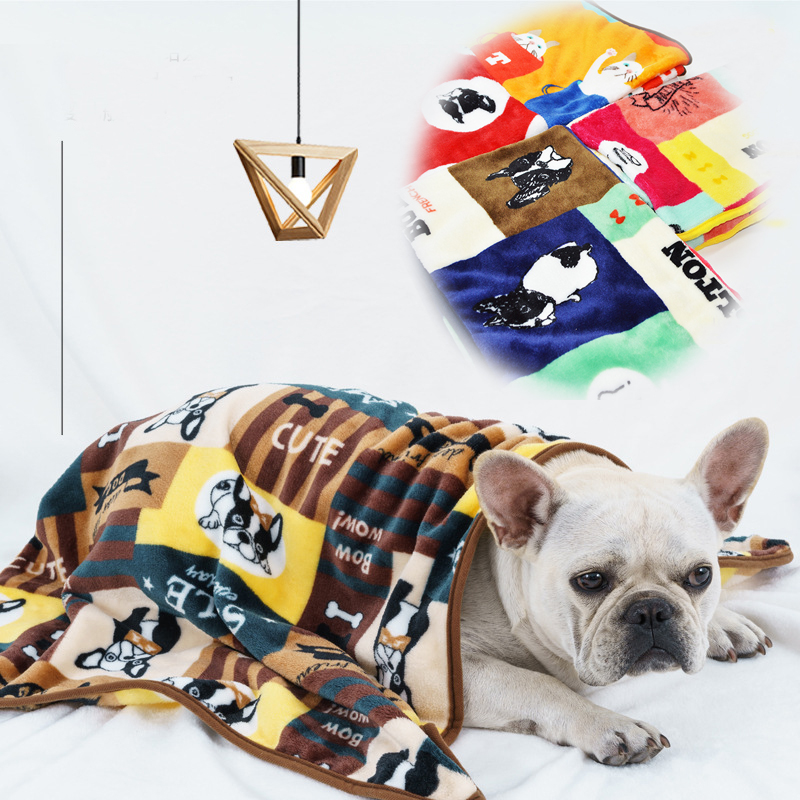 Super Soft Flannel Pet Blanket Bed Thicken Dog Cushion Puppy Kitty Shower Towel Cute Home Rug Warm Sleeping Cover Pet Supplies 1