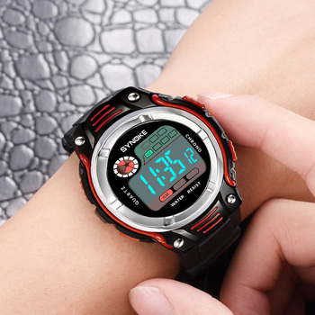 SYNOKE 2020 New Childrens Digital Watch Fashion Two-color Strap Waterproof Shockproof Sport Watches For Kids Clock