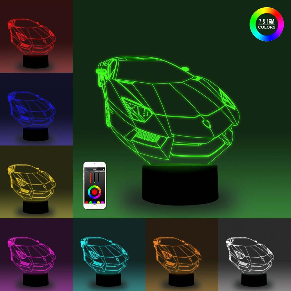 NiteApps 3D Sports Car Night Light Desk Table Illusion Decoration Lamp Holiday Birthday Gift APP/Touch Control