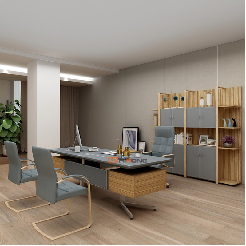 Nordic Design Office Study Furniture Fashion Grey Leather Wood Office Filling Cabinet Storage Bookcase Cabinet