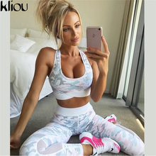 Kliou 2017 Women camouflag Fitness Clothing Suit Two Piece Sportswear Vest Pants Suits Crop Top Skinny mesh Legging Tracksuit