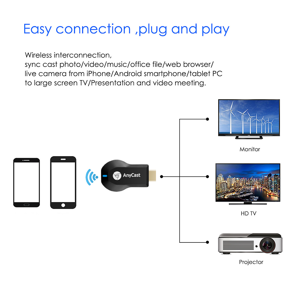 cheapest Wireless Display Adapter V2 Receiver For Microsoft HDMI And USB Port Black
