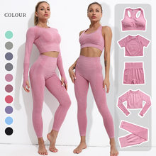 2021 yeni kadın Yoga setleri 2/3/5 adet dikişsiz uzun kollu kırpma üst yüksek bel Gym Fitness tayt egzersiz spor spor takım elbise