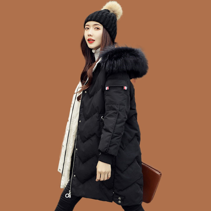 2019 New Down Jacket Female Long Section Thick Slim Slim Korean Coat Fashion White Duck Down Large Fur Collar Hooded Parker 532