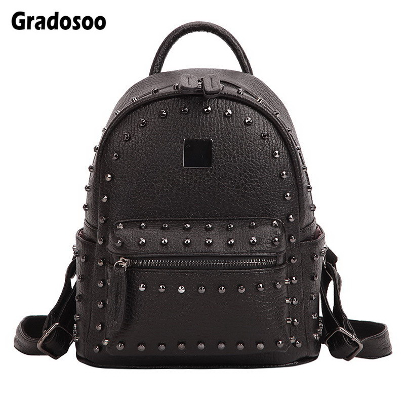 Gradosoo Punk Style Rivet Backpack Female Famous Brand Women's Backpack PU Leather Shoulder School Bag Bagpack For Girls LBF203