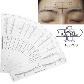 100Pcs Disposable Eyebrow Stencil Makeup Microblading Measure Tattoo Ruler Beauty Tool Eye Brow Stencil Eyebrow Line Profesional