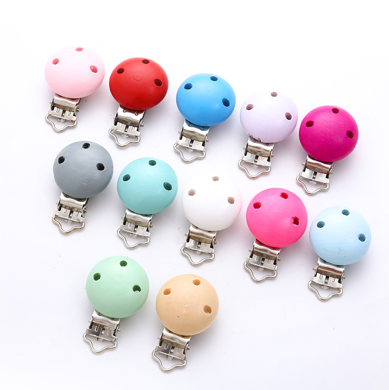 Solid Color Round Cute Baby Products DIY Accessories Baby Pacifier Chain Nipples Hold Someone Wooden Chain 5 Piece/Lot