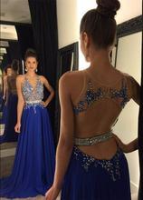 Женское вечернее платье с карманами длинное синее трапеция открытой