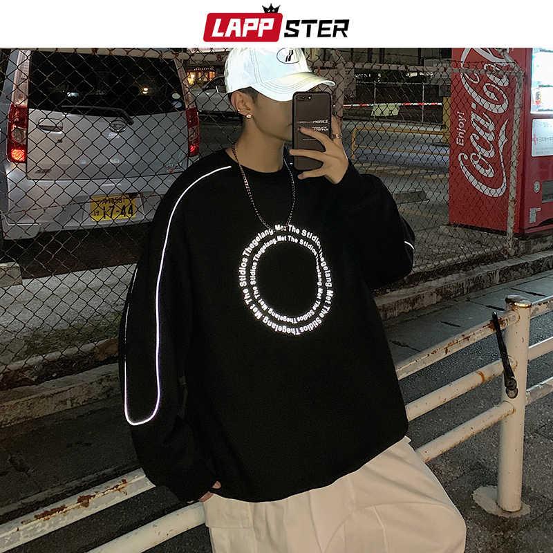 LAPPSTER Men Streetwaer Reflective Hoodies 2020 풀오버 남성 힙합 디자이너 스웨터 남성 하라주쿠 한국 패션 후드