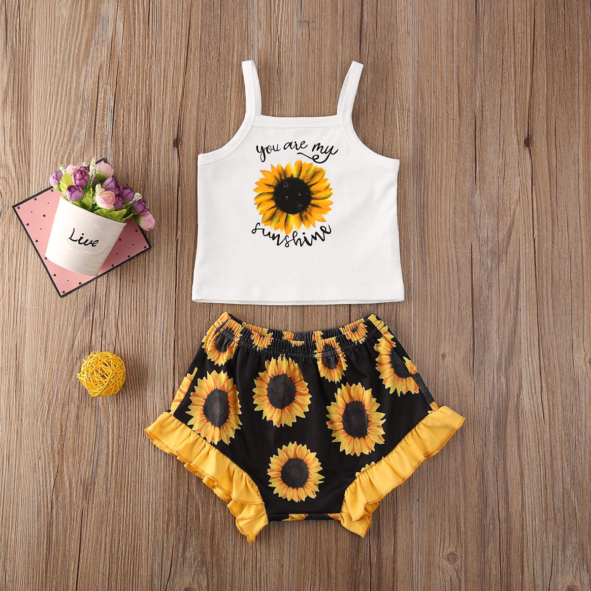 Emmababy Newborn Baby Girl Clothes Sunflower Print Sleeveless Vest Tops Ruffle Short Pants 2Pcs Outfits Cotton Clothes Sunsuit
