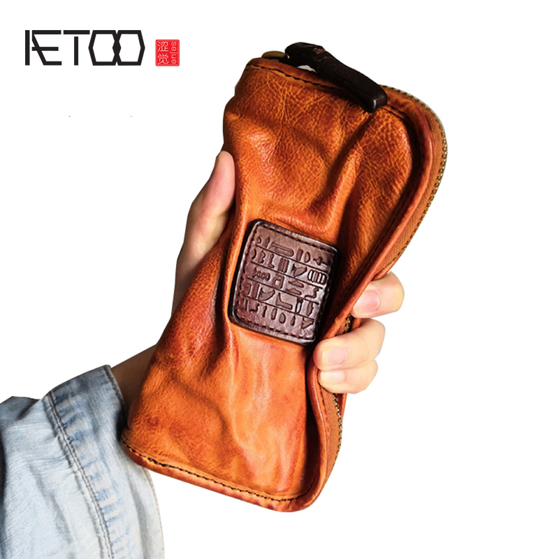 AETOO Vintage Cowhide Wallet First Layer Cowhide Leather Wallet Men's Long Handbag Multi-card Zipper Fold Clutch