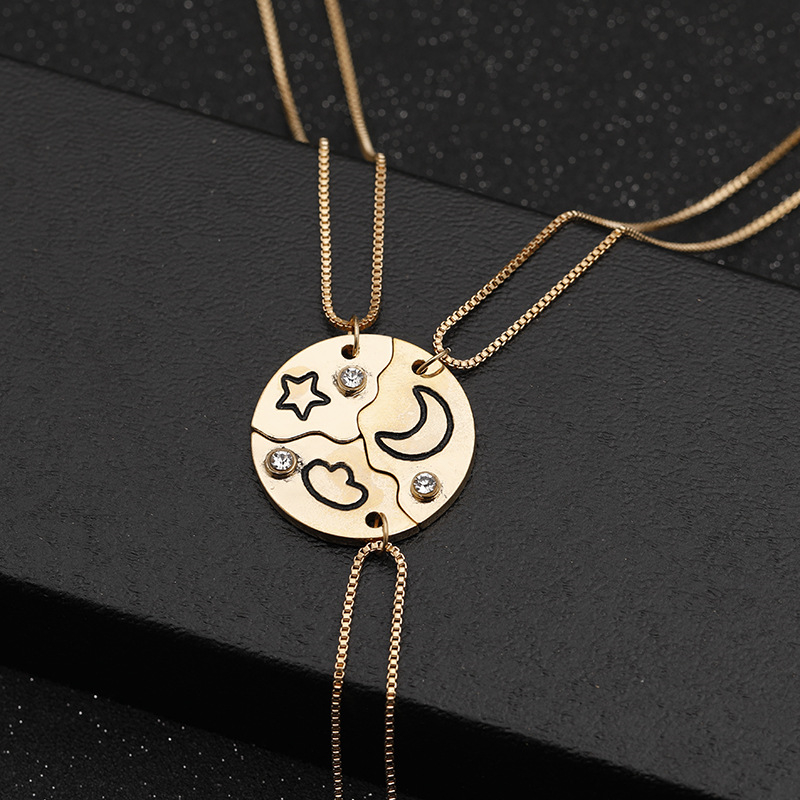 3 Pcs Best Friend Necklaces Set For Women Star Moon Pendant Chain Necklace Bff Choker Girl's Gift Rhinestone Letter Necklaces