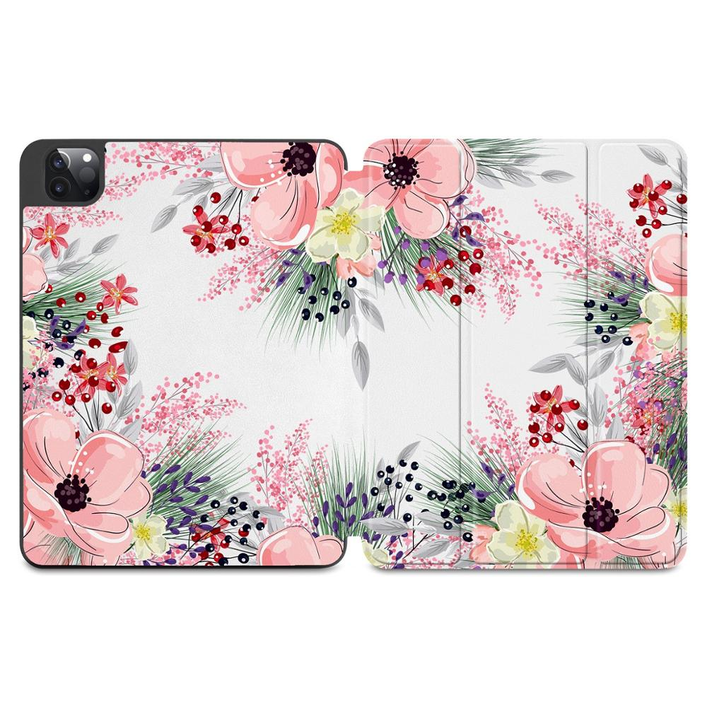 X125 Orange Flowers Print Case for Apple iPad Pro 11 2020 2018Full Body Protective Rugged Shockproof Case with