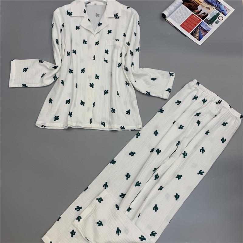 Lisacmvpnel Long Sleeve   Pajamas   Woman Pure Cotton Double-deck Gauze Fresh Cactus   Pajama     Set