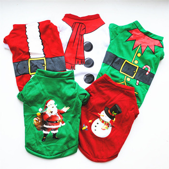 Christmas Dog Clothes Cotton Pet Clothing For Small Medium Dogs Vest Shirt New Year Puppy Dog Costume Chihuahua Pet Vest Shirt image