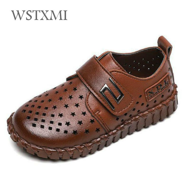 Boys Leather Loafers Shoes Children School Wedding Party Black Dress Student Shoes Kids Moccasins Hollow Breathable Flat Shoes