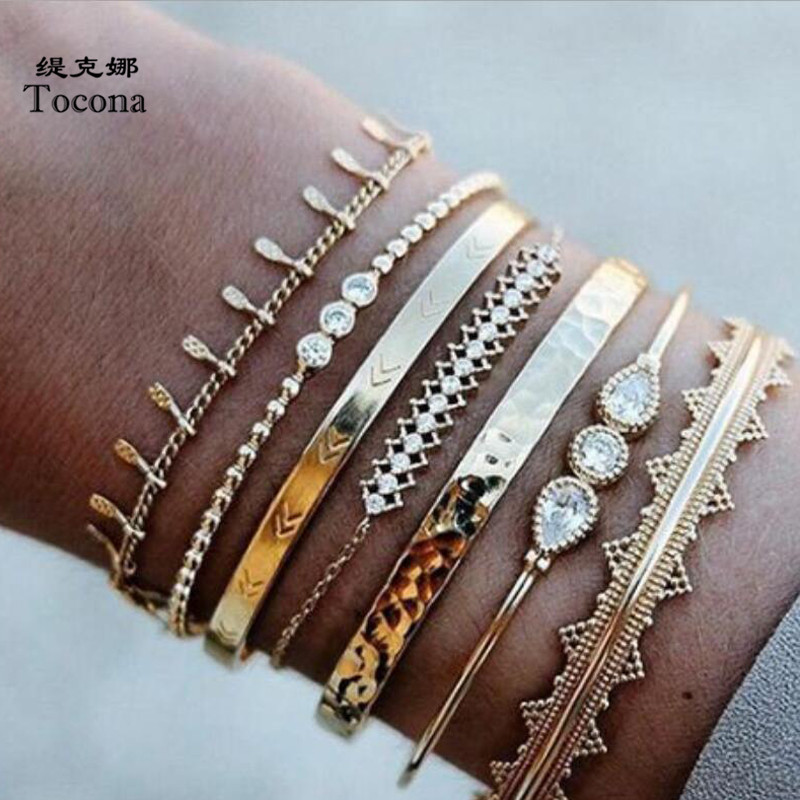 Tocona 7pcs/sets Clear Water Drop Crystal Stone Ladies Bracelets Gold Chain Cuff Bangle for Women Jewelry Wholesale 9168(China)