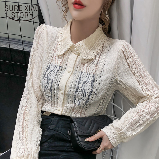 Sexy Women Tops Blouse 2021 Autumn Hollow Lace Shirt Cotton Long Sleeve Women Blouse Beading Thin Office Lady Clothing 10457 1