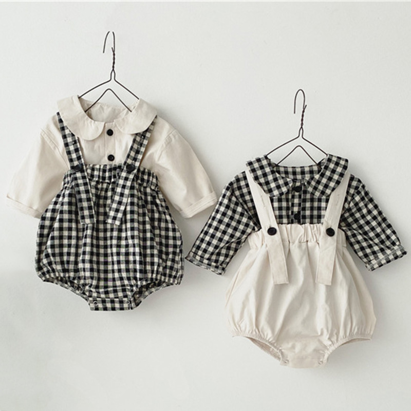 Baby Girls Clothes Set Doll Collar Shirt + Strap Climbing Outfits 2pcs Clothing Set Newborn Korean Toddler Fashion Baby Boy Set