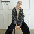 imakokoni black short coat original women's clothing design student thickened warm jacket female autumn and winter essential