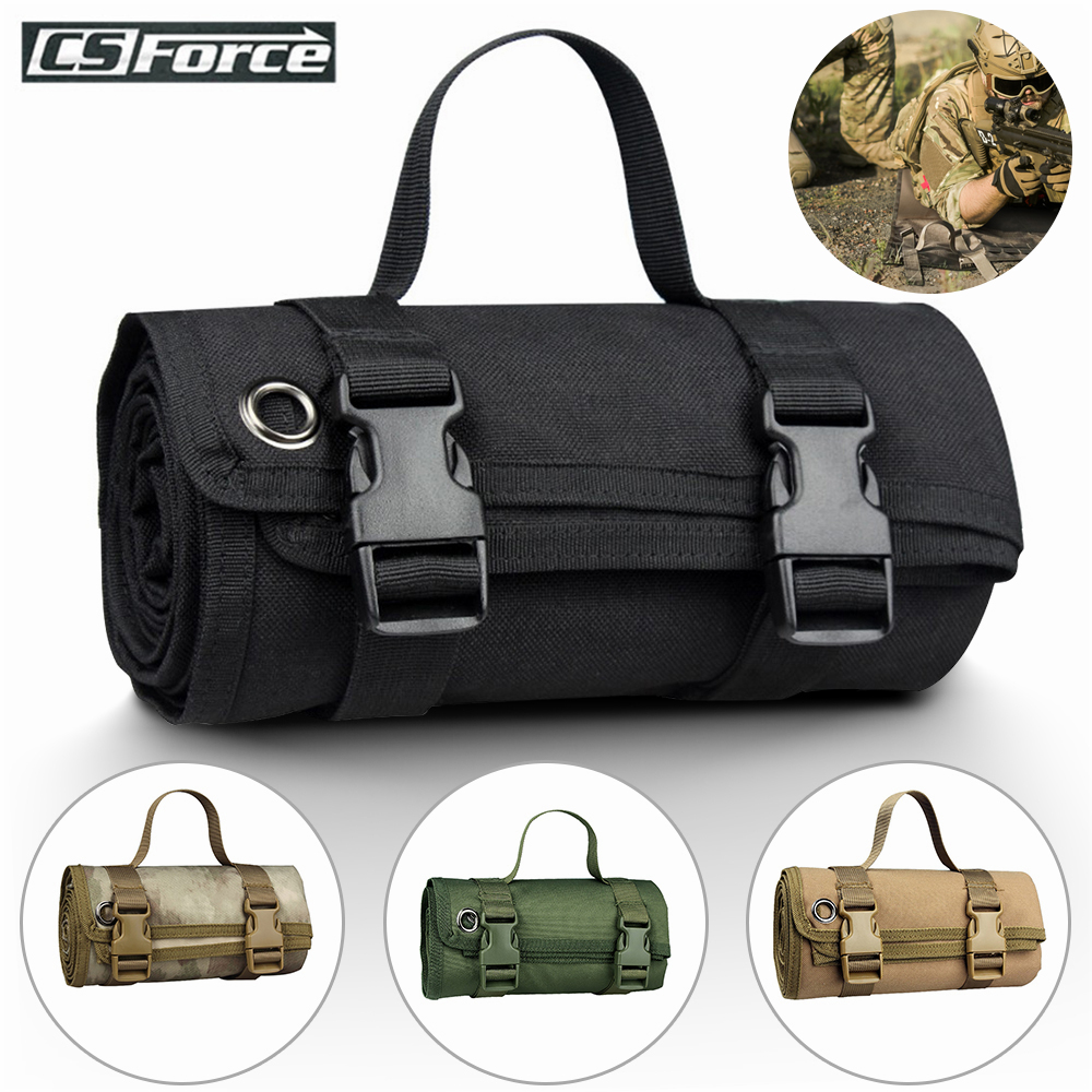 Tactical Roll-Up Shooting Mat Waterproof Lightweight Nylon Cloth Outdoor Hunting Molle Non-padded Mat For Rifle Gun Shotgun