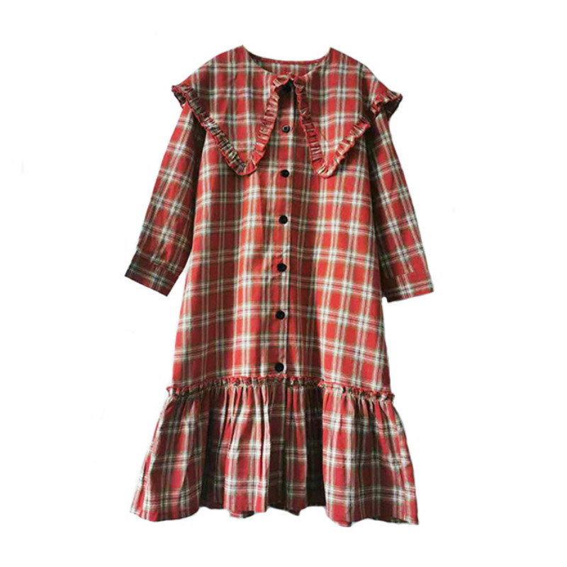 2020 Spring New Girls Plaid Dresses Korean-style Kids Loose Casual Dresses For Teen Girls Long Style Baby Girls Dresses, #8549
