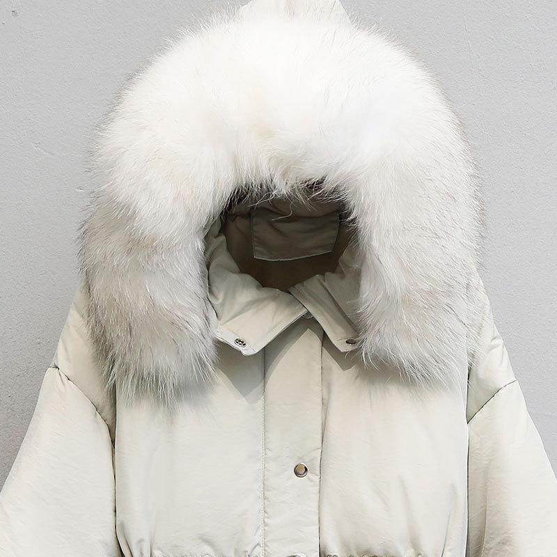 Down Duck White Jacket Women Raccoon Fur Collar Down Coat Puffer Jacket Winter Coat Women Warm Parka Casaco 8081 YY1226