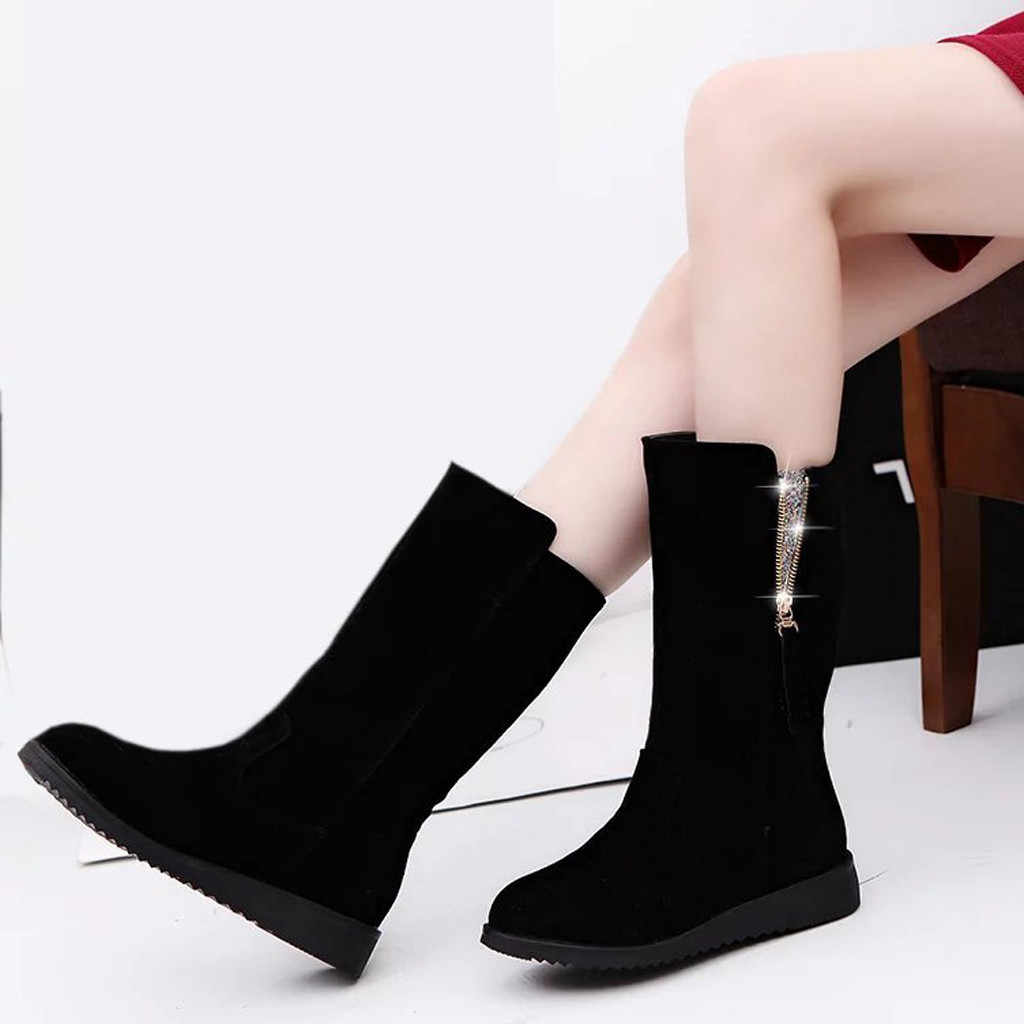 Grande taille bottes d'hiver zipper femmes bottes style simple chaussons mode femmes chaussures Med talons bottes courtes chaussures