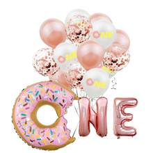 Donut form 16 zoll brief aluminium folie ballon 1 jahr alt geburtstag party ballon dekoration 1st baby taufe latex ballon