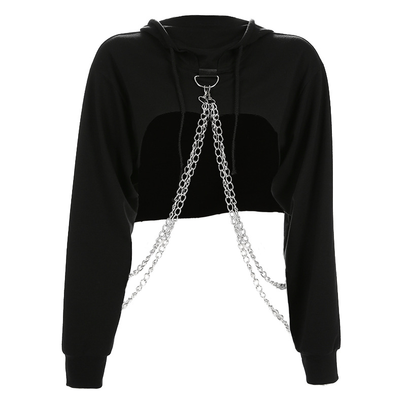 Merry Pretty 2020 Womens Hoodies Pullover Crop Top Hoodie Black Crop Hooded Chain Hoodie Streetwear Sweatshirt Women