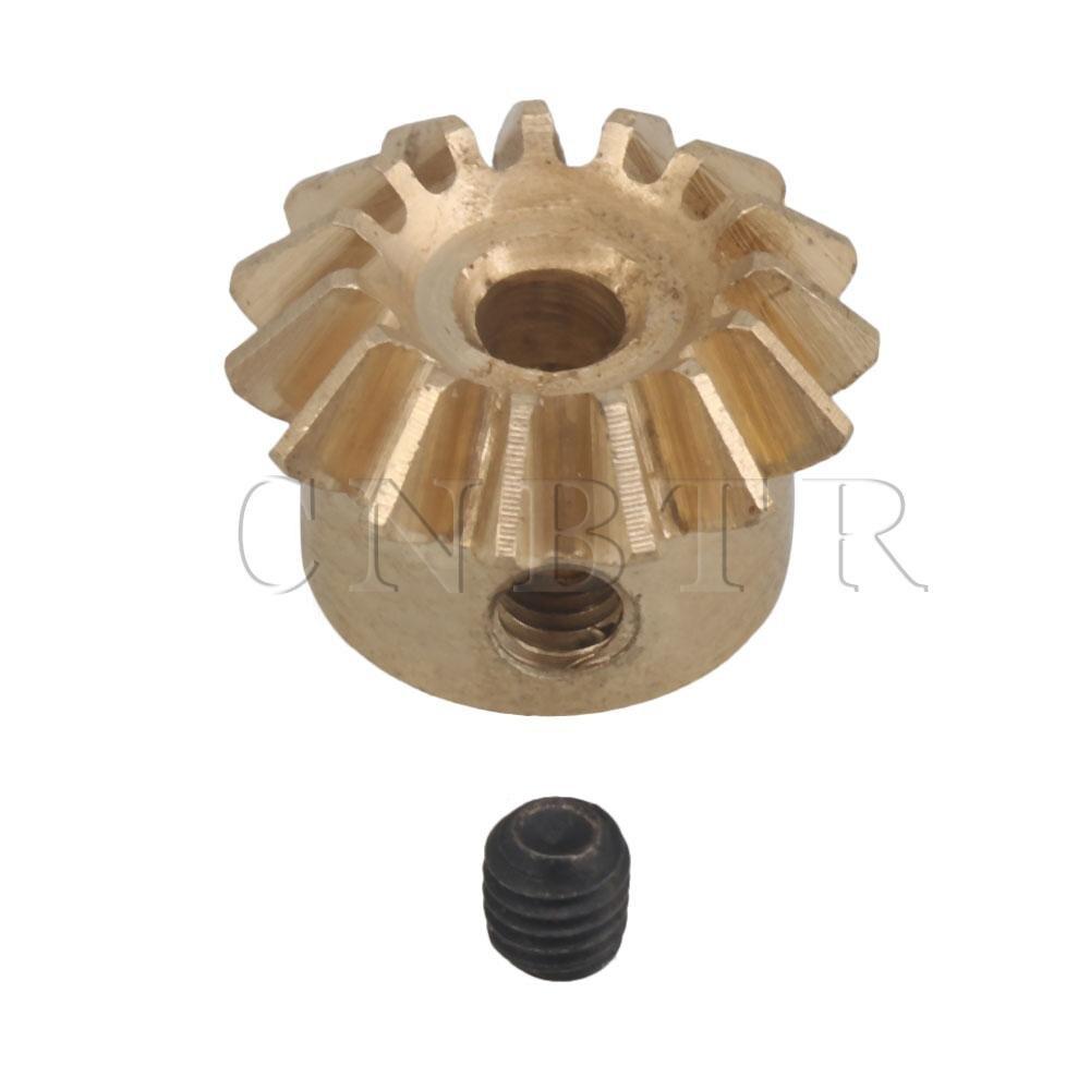 CNBTR 3mm Hole 15T 0.8 Module Motor Copper Tapered Bevel Gear Wheel Top Screw