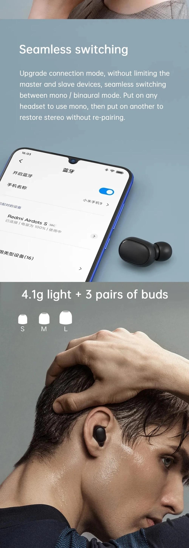 In Stock Xiaomi Redmi AirDots 2 Wireless Bluetooth 5.0 Charging Earphone In-Ear stereo bass Earphones Ture Wireless Earbuds AI Control (3)