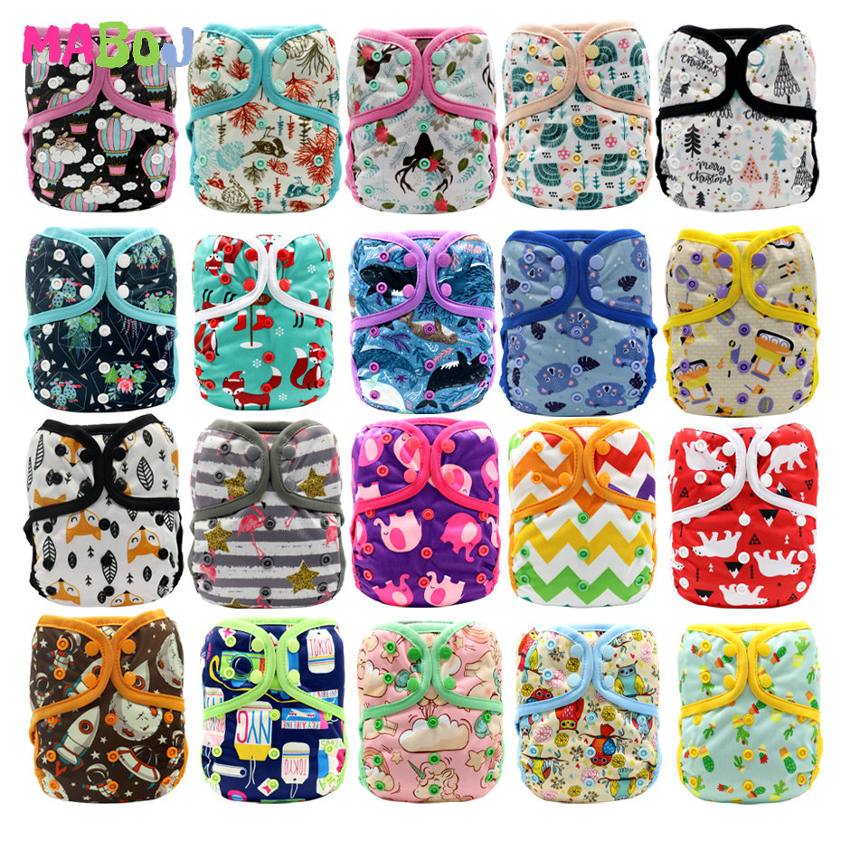 MABOJ Diaper Cover Cloth Diapers Baby One Size Gril Boy Nappy Cloth Diaper Cover Fits 3-15kg Baby Nappies Waterproof Breathable