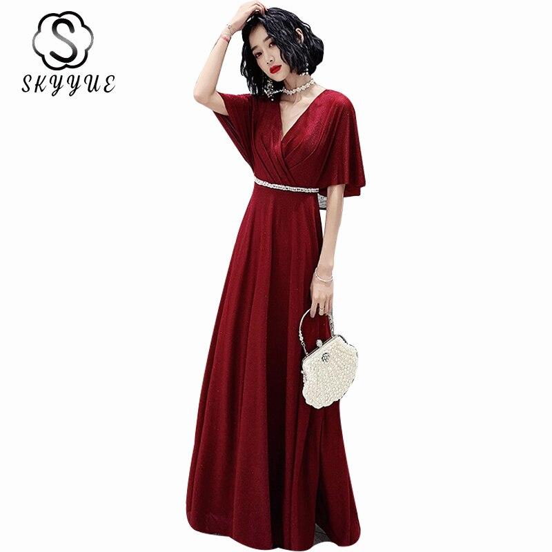 Evening Gowns Elegant Skyyue ER486 Burgundy V-neck Evening Dresses A Line Short Sleeve Robe De Soiree Crystal Evening Dress