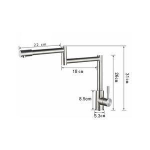 Image 4 - BAKALA 304 Stainless Steel Lead free Folding Kitchen Faucet Mixer 360 Degree Swivel Single Handle Nickel Kitchen Sink basin Taps