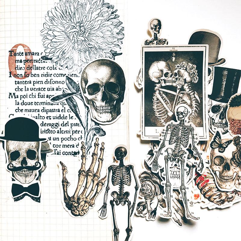 14Pcs/Set Sexy Skeleton Bone Skull Vintage Sticker DIY Craft Scrapbooking Album Journal Happy Planner Decorative Stickers