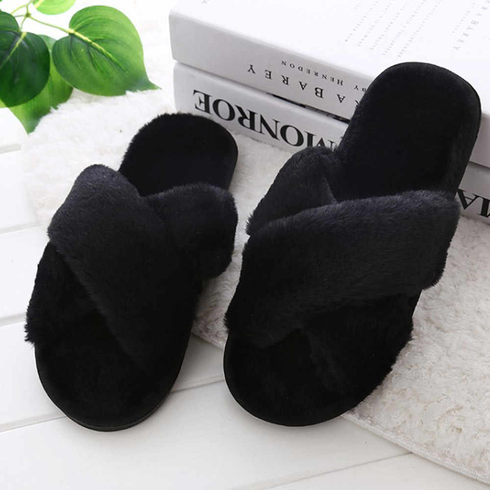 SAGACE de invierno para mujer Zapatillas de casa con piel sintética moda Zapatos calientes mujer deslizamiento en pisos deslizamiento femenino negro rosa de talla grande 2019