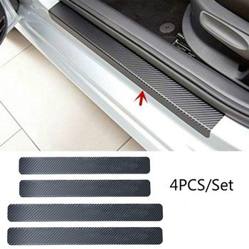 4Pc Black Car Door Stickers Carbon Fiber Plate Car Sticker Sill Scuff Cover Anti Scratch Decal Universal For All Car image
