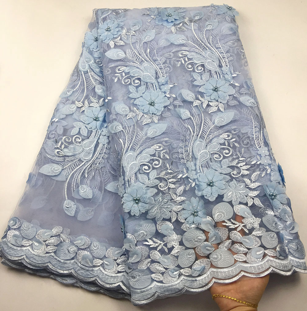 3D French Nigerian Lace Fabrics High Quality Tulle African Laces Fabric Light Blue Lace Embroidered Mesh Fabric For Party Dress