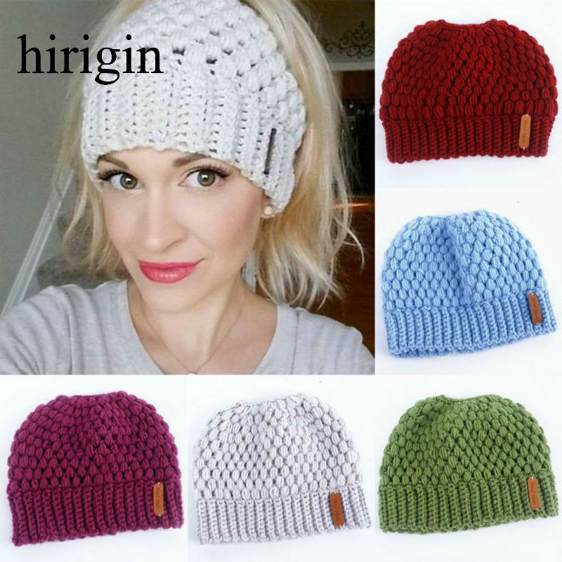 Hirigin Brand 2020 New 7 Colors Ponytail Beanie Women Stretch Knitted Crochet Beanies Winter Hats For Women Hats Cap Warm Lady