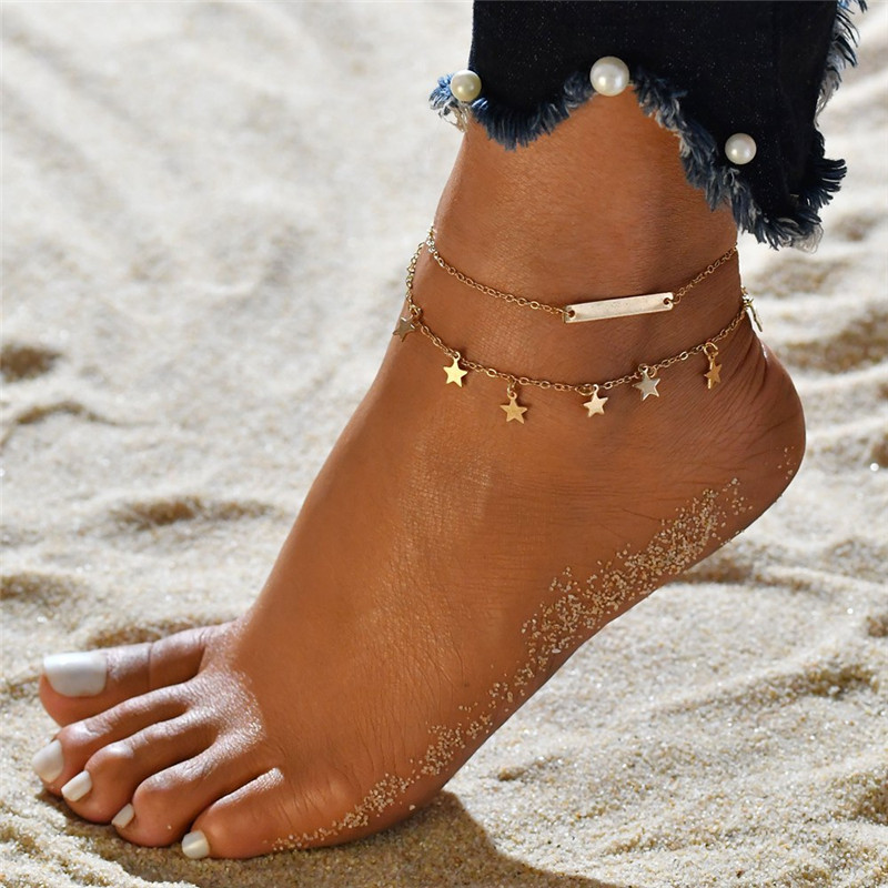Modyle Multi Layer Star Pendant Anklet Foot Chain 2020 New Summer Yoga Beach Leg Bracelet Charm Anklets Jewelry Gift