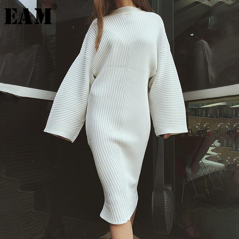 [EAM] Women White Knitting Elegant Dress New Round Neck Long Lantern Sleeve Loose Fit Fashion Tide Spring Autumn 2020 1D133
