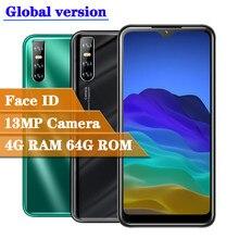 Gesicht id entsperrt 8A quad core 4GB RAM 64GB ROM 13MP smartphones wasser tropfen bildschirm android handys celulares dropshipping