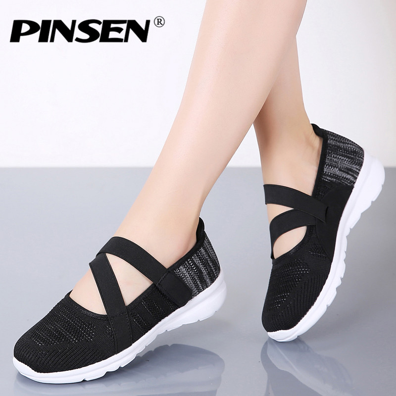 PINSEN 2019 New Autumn Fashion Women Shoes Breathable Mesh Casual Shoes Woman Comfortable Ballerina Flats Shoes Ladies Sneakers