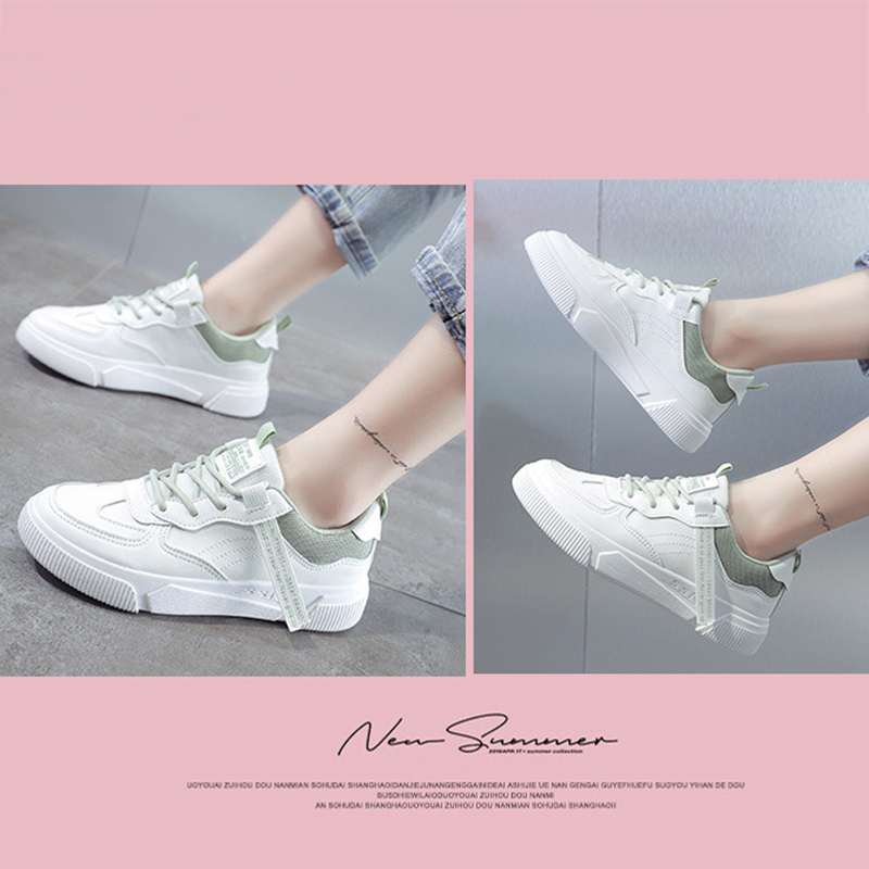 SWQZVT Summer Autumn Sneakers Women Breathable Flat Lace-up Women Vulcanize Shoes White Walking Leather Female Casual Shoes 2020 (13)