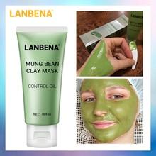 LANBENA Mung Bean глина маска для лица уменьшает следы акне питательное Глубокое Очищающее Масло контролирующее чистые поры удаляет жир уход за кожей
