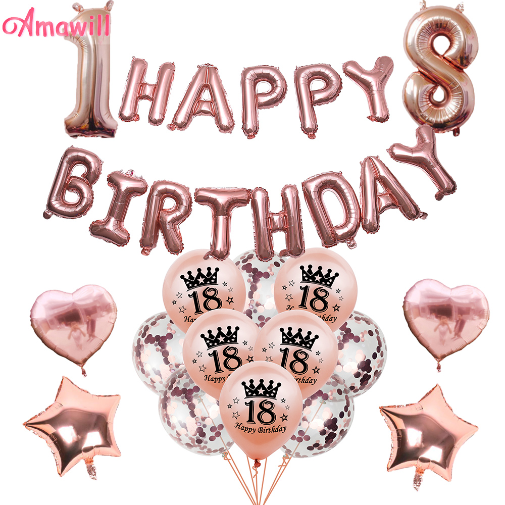 AMAWILL 12pcs/set 16th <font><b>18th</b></font> 30th 40th 50th Balloons Adult <font><b>Birthday</b></font> Party <font><b>Decorations</b></font> Rose Gold Confetti Ballon Home Decor image