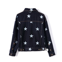 Early Spring Fold down Collar Long Sleeve Versatile Star Women's Short Cowboy Jacket WeChat Free Women's Clothing